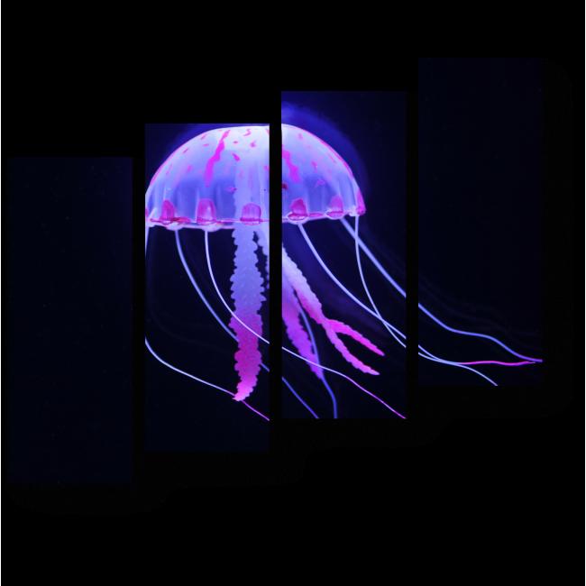 Модульная картина Светящаяся неоновая медуза