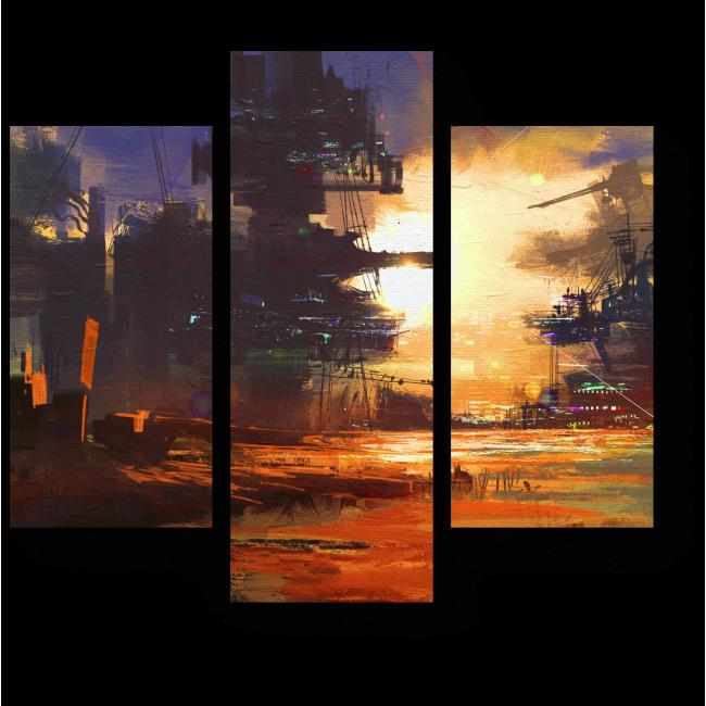 Модульная картина Фантастический город будущего