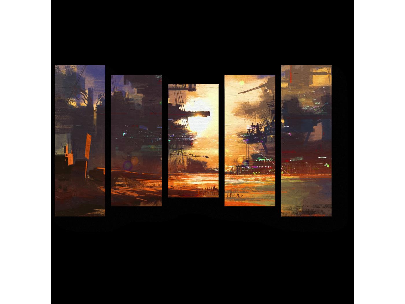 Модульная картина Фантастический город будущего (90x54) фото