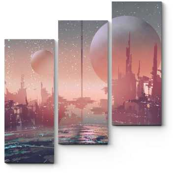 Модульная картина Город другого мира