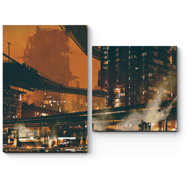 Модульная картина Футуристический пейзаж