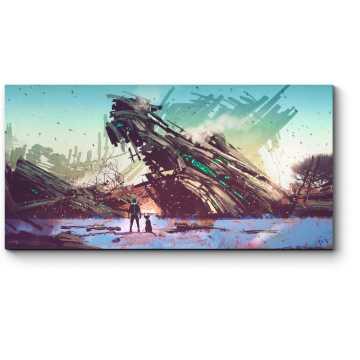 Модульная картина Крушение инопланетного корабля
