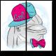 Дельфин в яркой бабочке и кепке