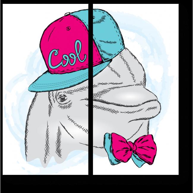 Модульная картина Дельфин в яркой бабочке и кепке