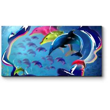 Разноцветные дельфины