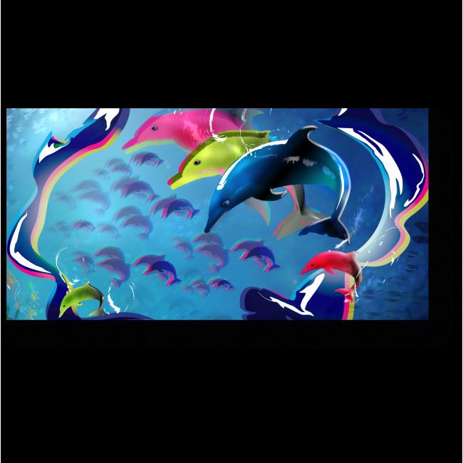 Модульная картина Разноцветные дельфины