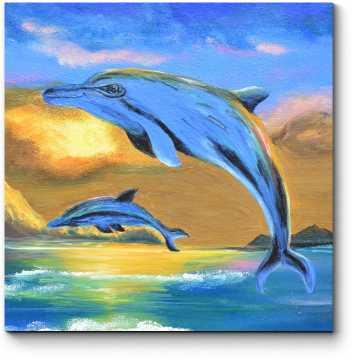 Дельфины на закате, масло