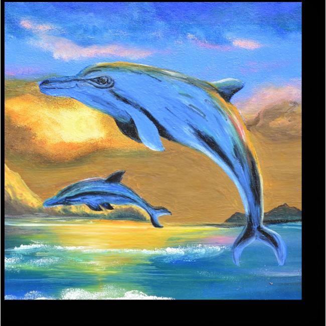 Модульная картина Дельфины на закате, масло
