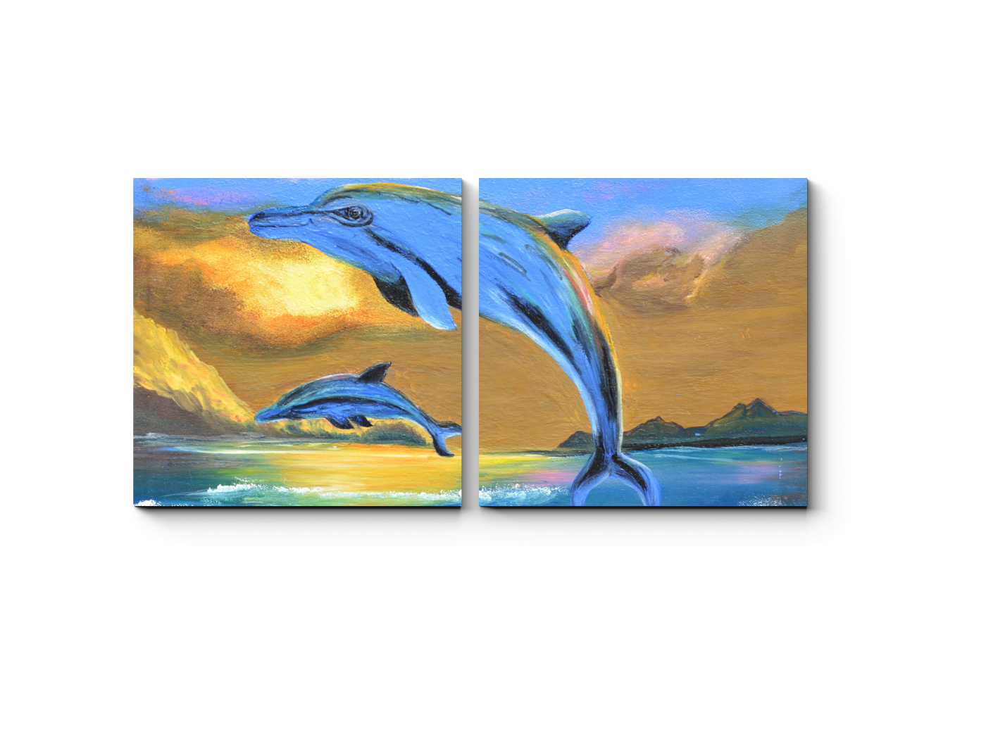 Модульная картина Дельфины на закате, масло (40x20) фото