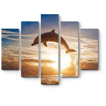Модульная картина Завораживающий прыжок дельфина на закате