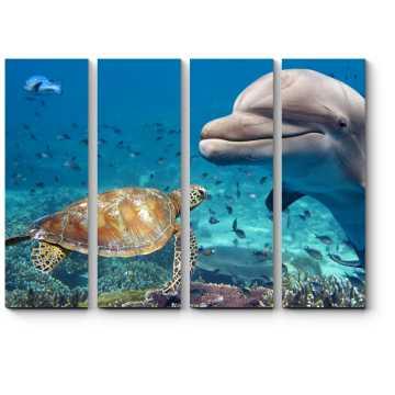 Модульная картина Взгляд из глубин океана