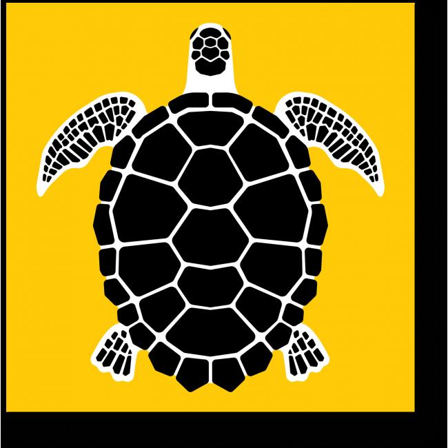 Модульная картина Черно-желтая арт черепаха