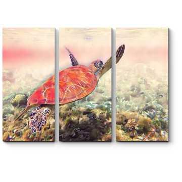 Плывущая яркая черепаха