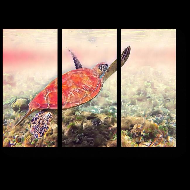 Модульная картина Плывущая яркая черепаха