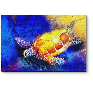 Модульная картина Морская черепаха, акварель