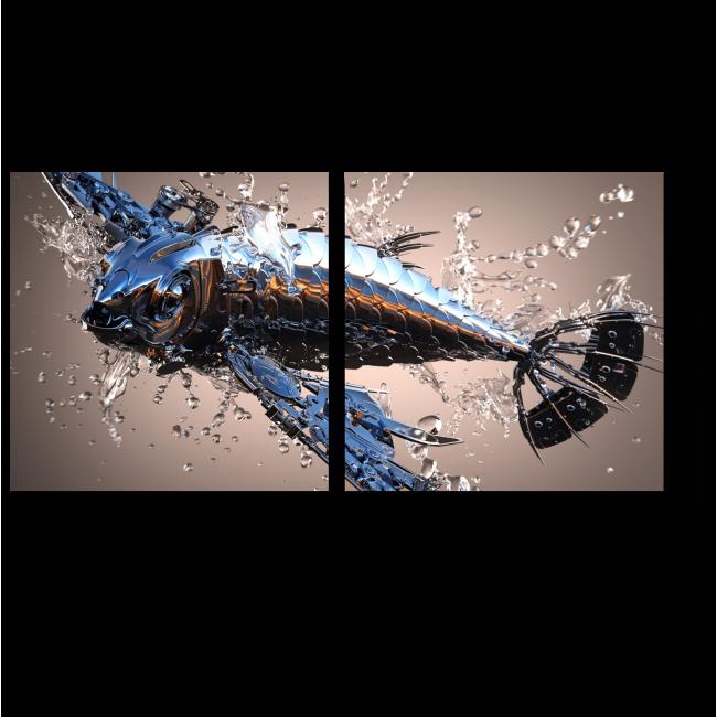 Модульная картина Стальная рыбка