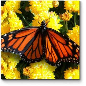 Модульная картина Красивая бабочка на желтых цветах