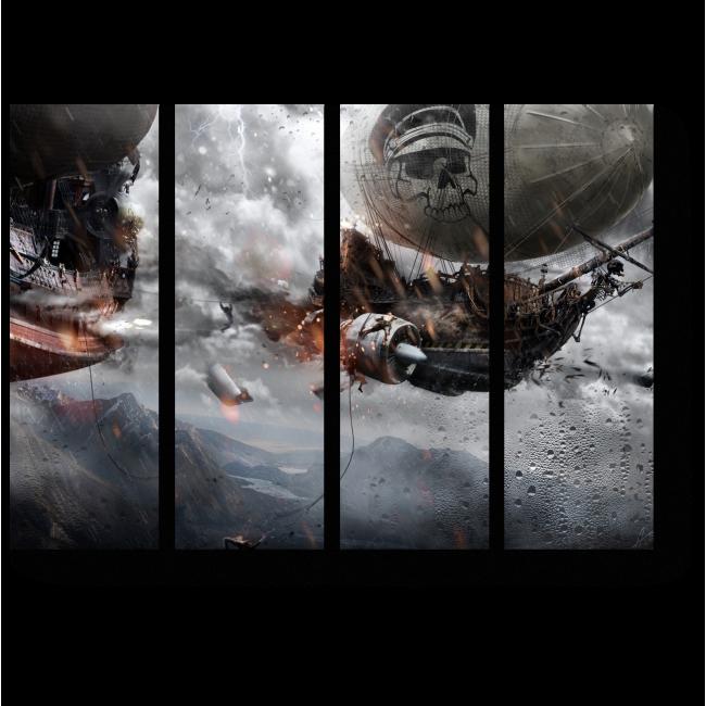 Модульная картина Пиратский дирижабль