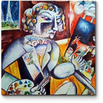 Модульная картина Автопортер с семью пальцами, Марк Шагал