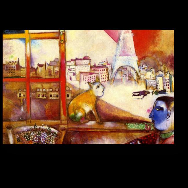 Модульная картина Париж через окно, Марк Шагал