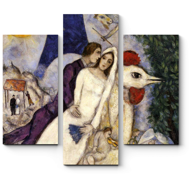 Модульная картина Les Maries de la tour Eiffel, Марк Шагал
