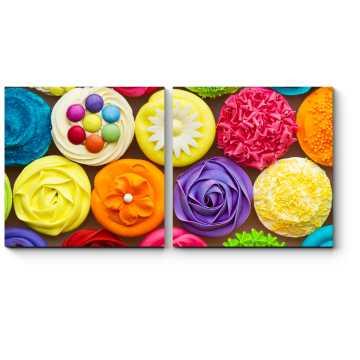 Модульная картина Разноцветные капкейки