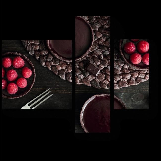 Модульная картина Шоколадный пирог с малиной