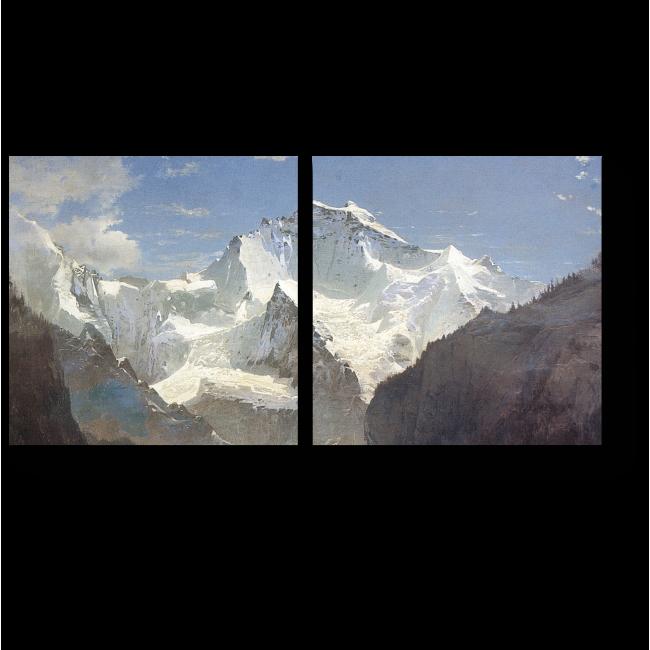 Модульная картина Вид в Швейцарских Альпах, Алексей Саврасов