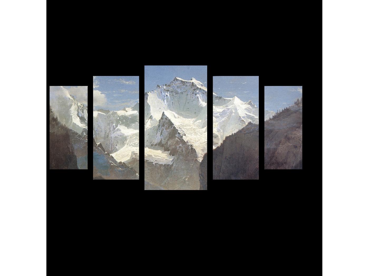 Модульная картина Вид в Швейцарских Альпах, Алексей Саврасов (100x55) фото