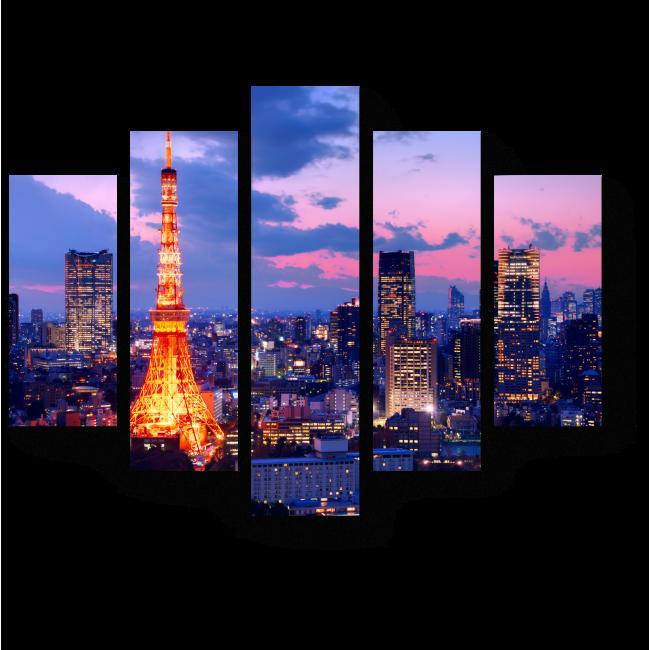 Модульная картина Неподражаемый ночной Токио