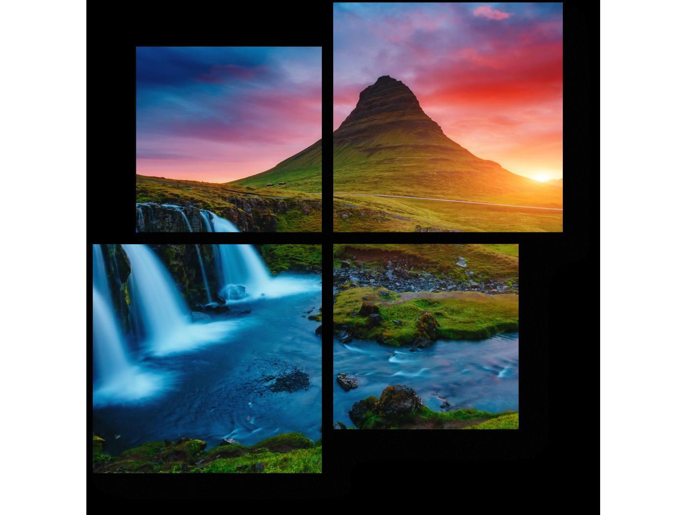 Модульная картина Красочный рассвет, Исландия (50x50) фото