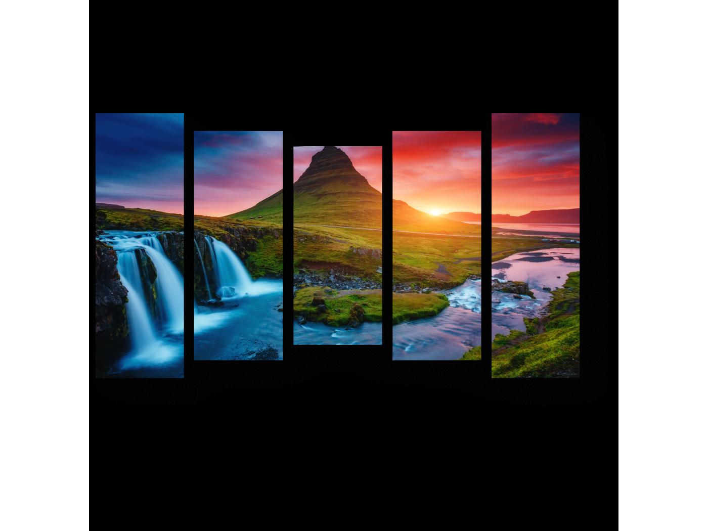 Модульная картина Красочный рассвет, Исландия (90x54) фото