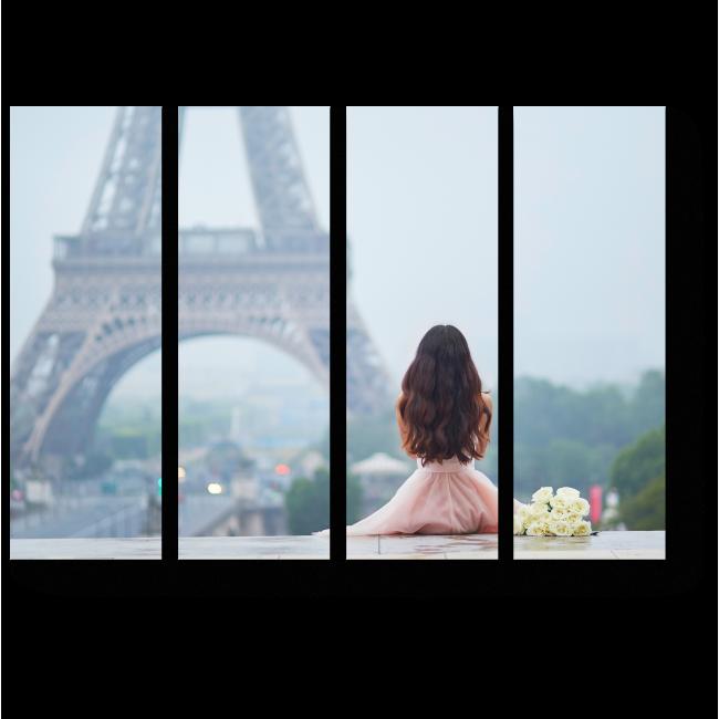 Модульная картина Сидя возле Эйфелевой башни
