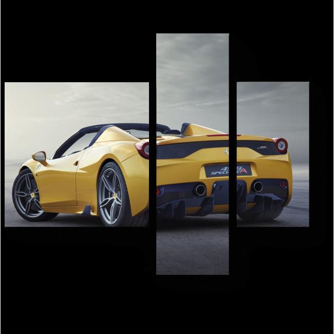 Модульная картина Желтый кабриолет