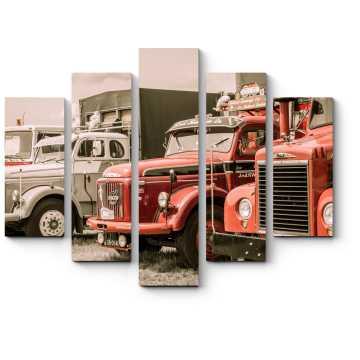 Модульная картина Красные грузовики