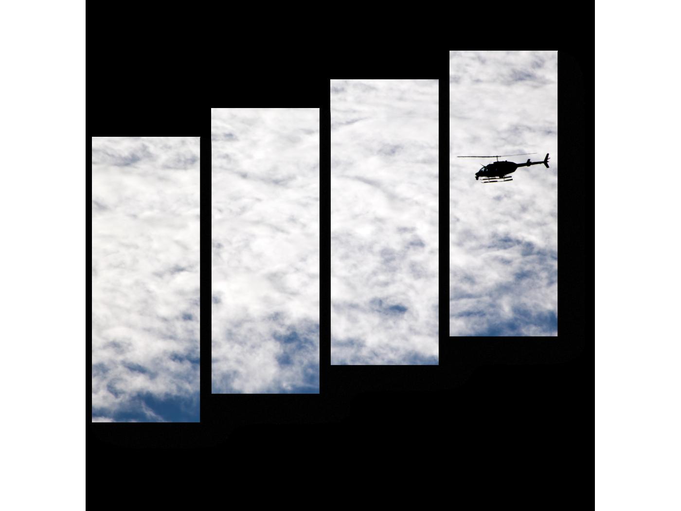 Модульная картина Летящий в облаках (80x69) фото
