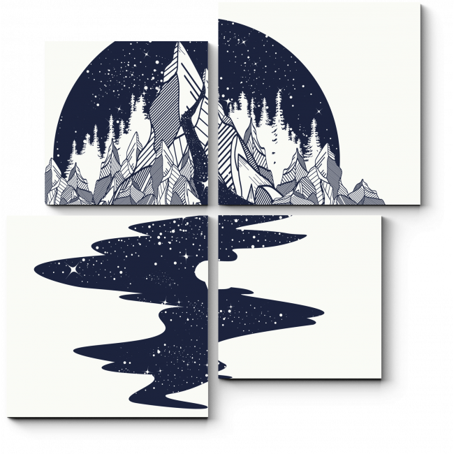 Модульная картина Звездная река в горах
