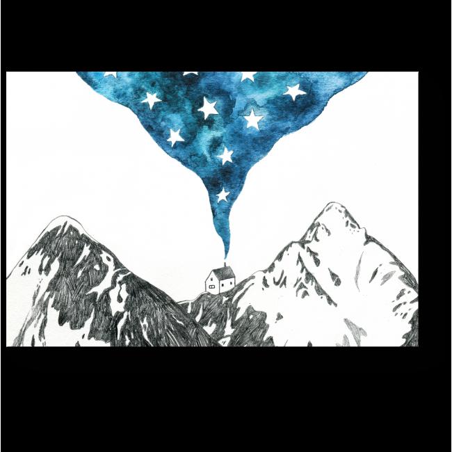 Модульная картина Домик в горах