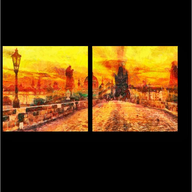 Модульная картина Первые лучи солнца над Карловым мостом, Прага