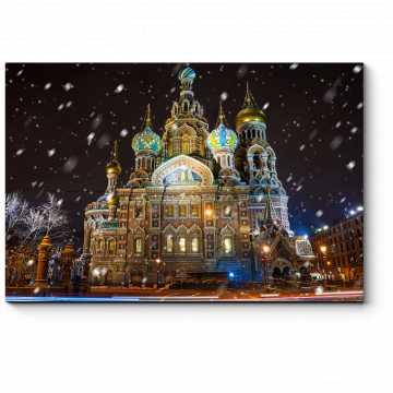 Модульная картина Спас на Крови зимним вечером, Санкт-Петербург