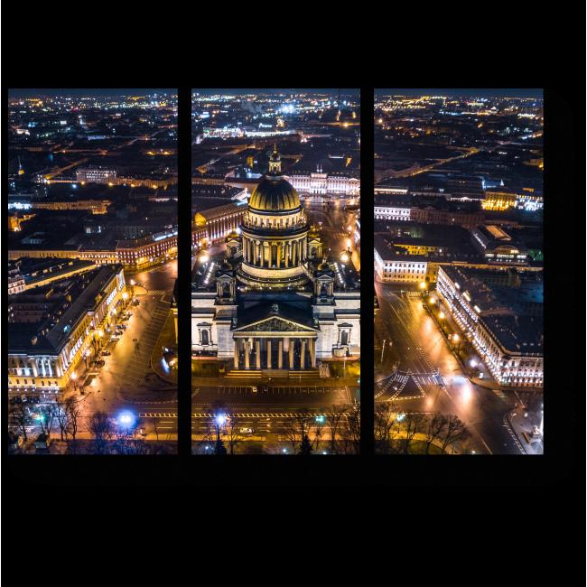 Модульная картина Пролетая над ночным Санкт-Петербургом