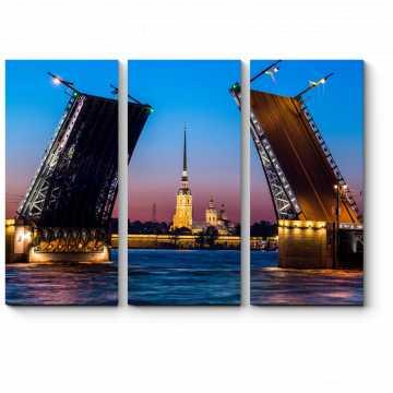 Модульная картина Разводные мосты Санкт-Петербурга