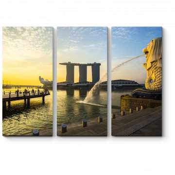 Модульная картина Мерлайон на рассвете, Сингапур