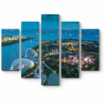Модульная картина Неповторимый Сингапур ясной ночью