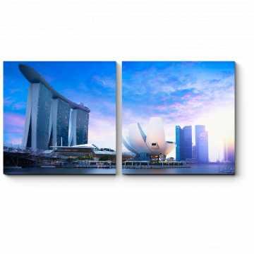 Модульная картина Сингапур в сумерках