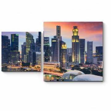 Модульная картина Сингапур никогда не спит