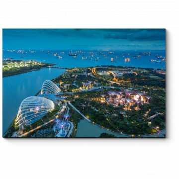 Пролетая над ночным Сингапуром
