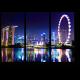 Огни ночного Сингапура в отражении Марина Бэй
