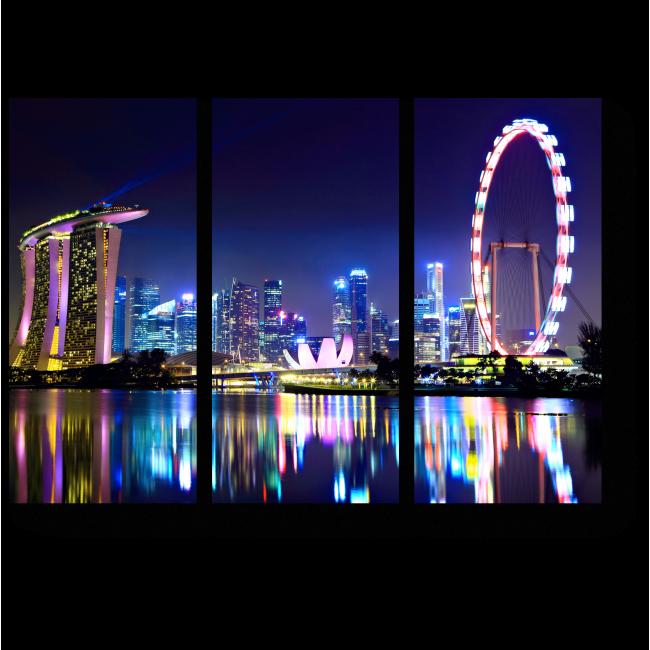 Модульная картина Огни ночного Сингапура в отражении Марина Бэй
