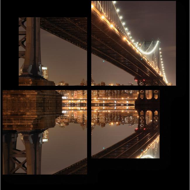 Модульная картина Ночной вид на Нью-Йорк